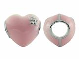 Storywheel Pink Enamel Puffed Heart Bead / Charm
