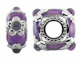 Storywheel Light Purple Enamel And Amethyst Bead / Charm