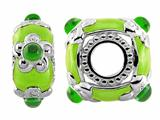 Storywheel Light Green Enamel And Chrome Diopside Bead / Charm