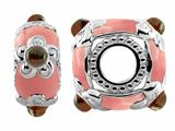 Storywheel® Light Pink Enamel and Garnet Pandora Compatible Bead / Charm style: W551G