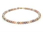Multicolor Fresh Water Cultured Pearl Necklace 7-7.5mm each Style number: FW050044