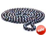 60 inch Black Fresh Water Pearl Rope 7-8 mm each