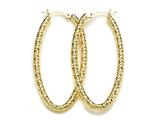 18K Yellow Gold Plated 925 Sterling Silver Fancy Hoop Earrings