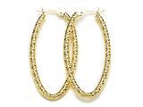 18K Yellow 925 Sterling Silver Sterling Silver Fancy Hoop Earrings style: 630019