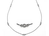 16 inches 14 kt White Diamond Station Necklace