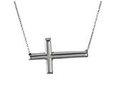 925 Sterling Silver Sidways Cross Neckalce on 18 Inch Chain style: 630135