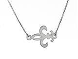 925 Sterling Silver Sideway Fleur De Lis Pendant on 18 Inch Chain style: 630141