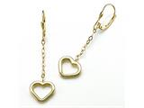 18K Yellow Gold Plated Silver Open Heart Dangle Earrings