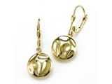 18K Yellow Gold Plated Silver Puffed Round Dangle Earrings