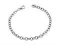 Sterling Silver 7.5 inch Long 4.5mm wide Polished Charm Bracelet