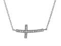 925 Sterling Silver Cubic Zirconia Sidways Cross Pendant on 18 Inch Chain