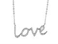 925 Sterling Silver Cubic Zirconia &quot;Love&quot; Pendant on 18 Inch Chain