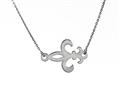 925 Sterling Silver Sideway Fleur De Lis Pendant on 18 Inch Chain