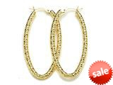18K Yellow 925 Sterling Silver Sterling Silver Fancy Hoop Earrings style: 630019