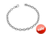 Sterling Silver 7.5 inch Long 4.5mm wide Polished Charm Bracelet style: 630059