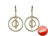 18K Yellow Gold Plated Silver Circle Dangle Earrings