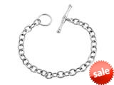 Sterling Silver 7.5 inch Long 6mm wide Polished Charm Bracelet with T-Lock style: 630134