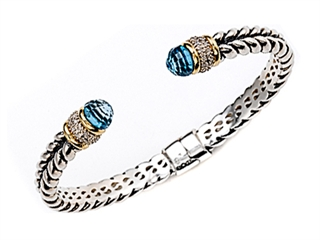 925 Sterling Silver Bangle \ Cuff with Blue Topaz and Diamond Accent
