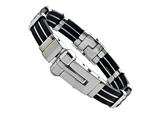 Stainless Steel and Rubber Mens Bracelet/Bangle