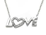 Sterling Silver Love Pendant with Diamonds