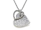 Sterling Silver Heart Shape Pendant with Diamonds style: 370035