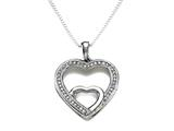Sterling Silver Heart Shape Pendant with Diamonds