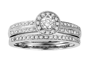 Round Diamond Bridal Engagement Wedding Set / Ring