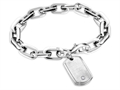 Inori Thick Chain Bracelet With Dog Tag Charm and Cubic Zirconia (CZ)