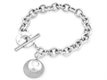 Inori Rough And Smooth Circle Charm Bracelet with Cubic Zirconia (CZ)