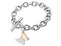 Inori Stainless Steel Rose Butterfly Charm Bracelet