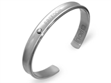 Inori Freedom Inscribed Stainess Steel Bangle Cubic Zirconia (CZ)