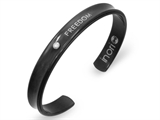 Inori Freedom Inscribed Black Stainess Steel Bangle Cubic Zirconia (CZ) style: INB14
