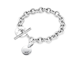 Inori Stainless Steel Circle Enclosed Heart Charm Bracelet