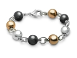 Inori Ball Black Gold And Stainless Steel Bracelet