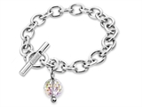 Inori Stainless Steel Disco Ball Crystal Charm Bracelet