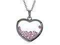Floating October Birth Months Simulated Pink Tourmaline Heart Shape Sterling Silver Glass Pendant Necklace