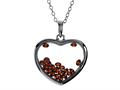 Floating July Birth Months Simulated Ruby Heart Shape Sterling Silver Glass Pendant
