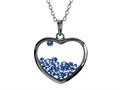 Floating September Birthstones Simulated Sapphire Heart Shape Sterling Silver Glass Pendant