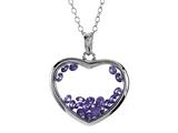 Floating February Birthstones Simulated Amethyst Heart Shape Sterling Silver Glass Pendant