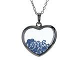 Floating March Birthstones Simulated Aquamarine Heart Shape Sterling Silver Glass Pendant