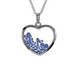Floating December Birthstones Simulated Blue Topaz Heart Shape Sterling Silver Glass Pendant