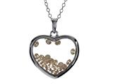 Floating Champagne Color Cubic Zirconia (CZ) Heart Shape Sterling Silver Glass Pendant style: JJ1001CH