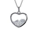 Floating April Birthstones White Cubic Zirconia (CZ) Heart Shape Sterling Silver Glass Pendant