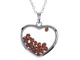 Floating January Birthstones Simulated Garnet Heart Shape Sterling Silver Glass Pendant