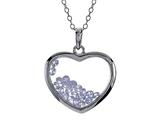 Floating June Birthstones Simulated Alexandrite Heart Shape Sterling Silver Glass Pendant