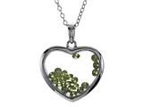Floating August Birthstones Simulated Peridot Heart Shape Sterling Silver Glass Pendant