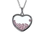 Floating October Birth Months Simulated Pink Tourmaline Heart Shape Sterling Silver Glass Pendant Necklace style: JJ1001P