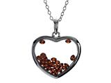 Floating July Birthstones Simulated Ruby Heart Shape Sterling Silver Glass Pendant