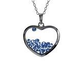 Floating September Birthstones Simulated Sapphire Heart Shape Sterling Silver Glass Pendant style: JJ1001SPH