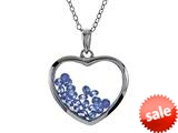 Floating December Birthstones Simulated Blue Topaz Heart Shape Sterling Silver Glass Pendant style: JJ1001BL